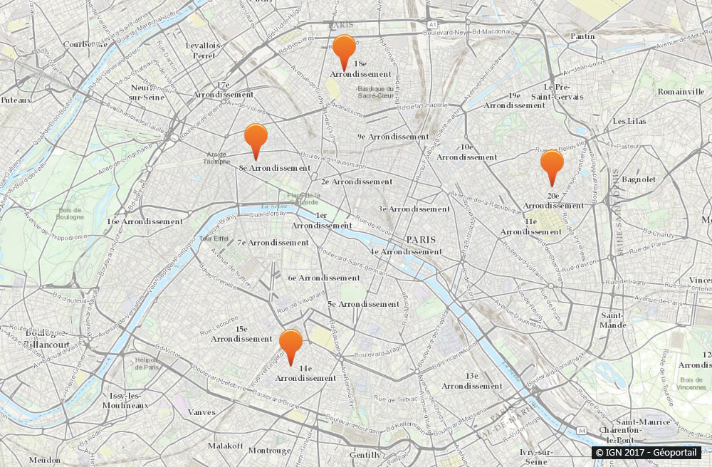 Paris : Carte de nos collaborateurs pour tous travaux de ramonage